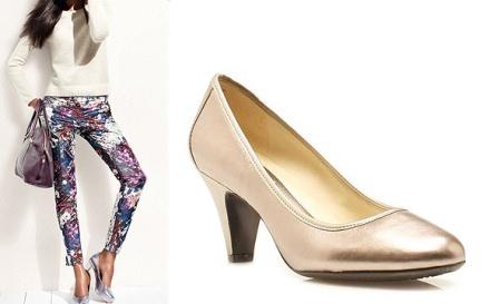 Zapato de tacón bajo Naturalizer y capris en estampado floral de H&M