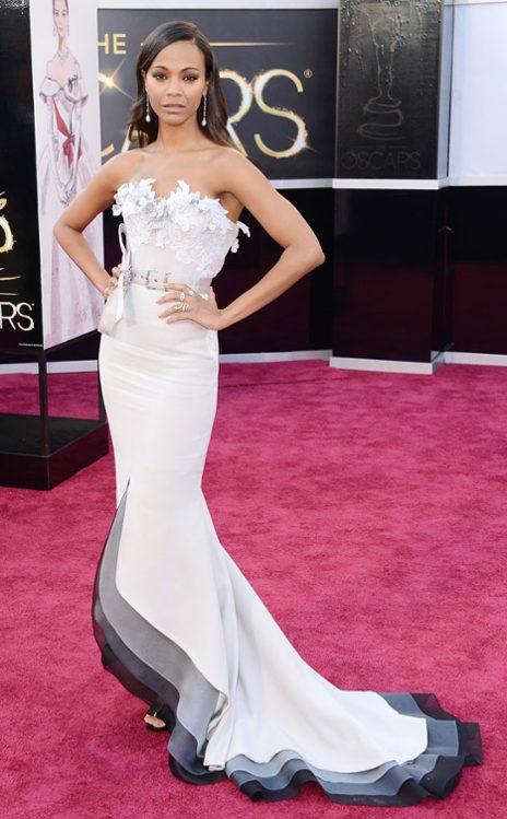 Zoe Saldaña en Alexis Mabille Couture. (E! Online)
