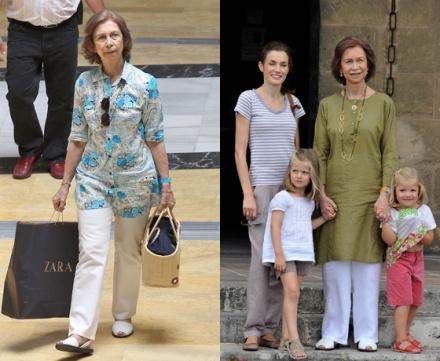 La reina Sofía es una fanática de las abarcas, y ha sido captada en innumerables ocasiones luicéndolas, sobre todo con vestimenta informal.