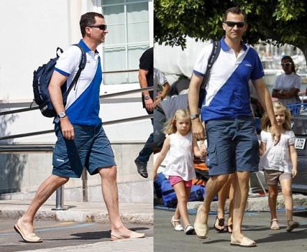 El príncipe Felipe, parace tener el mismo gusto de su madre, la reina Sofía, por las abarcas.
