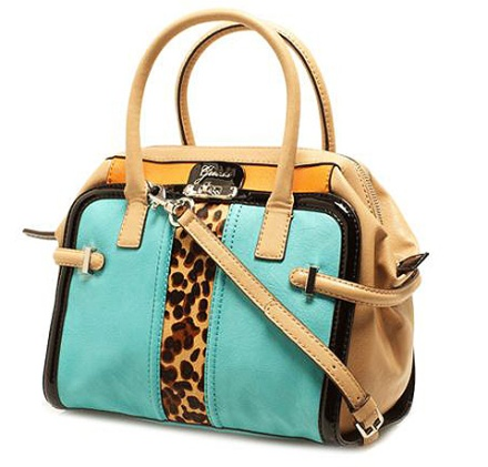 Doctor bag Guess en colores camel, mostaza, turquesa y estampado animal