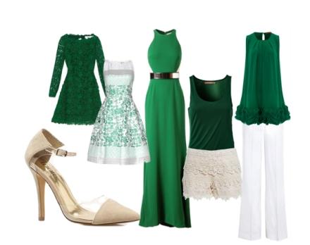 Los tacones puntiagudos combinan con casi todo tipo de piezas. En la foto, varias prendas en color del 2013, verde esmeralda,  muestran la versatilidad de este estilo.