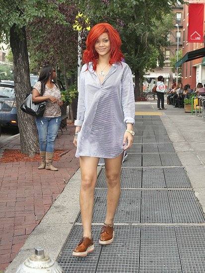 Rihanna-Wearing-Short-Shirtdress-Prada-Flatforms