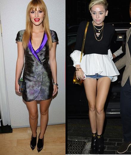 Bella Thorne en Emporio Armani y Miley Cyrus en Versace