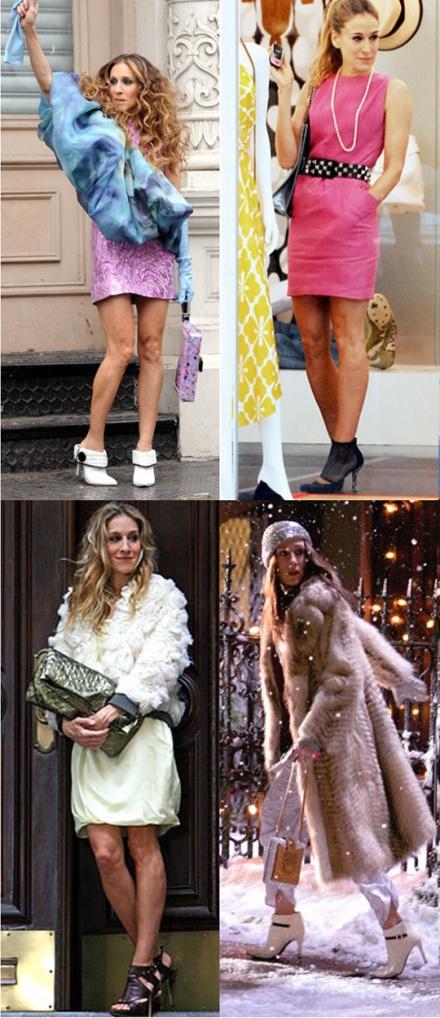Carrie Bradshaw lució varios estilos de botines en  la primera entrega de Sex and the City, en la pantalla grande.